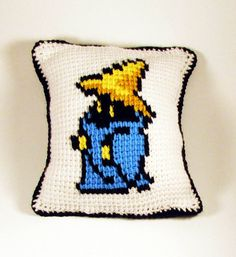 Black and White Mage Pillow - Final Fantasy - Tunisian Crochet on Etsy, $50.00