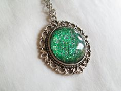"""Emerald Green Glitter Nail Polish Pendant Necklace: 25mm / 1"""" Glass Circle in Antique Silver Scroll Edge Setting"""