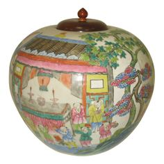 Famille Rose Jar  China  19th Century  Antique Chinese Famille Rose Porcelain Jar with Rosewood Lid - Tonzhi 1862-1874