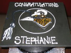 Purdue graduation cap cake made by The Sugar Me Bakery.