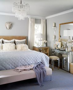 I like the beige thrown in here. it's unexpected in a good way. but way too much stuff on that dresser!