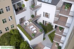 Alle #Wohnungen verfügen über einen großzügigen Balkon, eine Terrasse oder einen Eigengarten. Mansions, House Styles, Home Decor, Patio, Underground Garage, Real Estate Agents, Condominium, Balcony, Projects