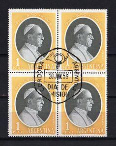 Su Santidad Papa Pio XII, con el sello del dia de emision, en 1959, Cordoba.   (lbk)