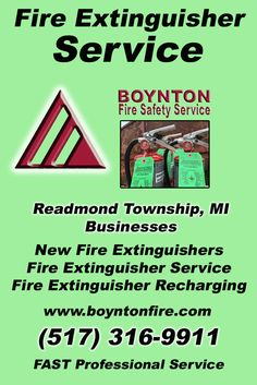 Fire Extinguisher Service Readmond Township, MI (517) 316-9911Local Michigan Businesses Discover the Complete Fire Protection Source.  We're Boynton Fire Safety Service.. Call us today!