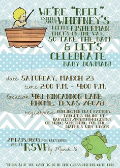 Fishing Themed Printable Baby Shower Invitation Shower