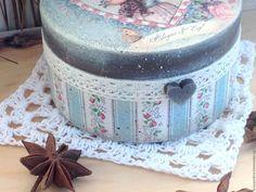 Купить Шкатулка Нежный Винтаж - голубой, винтажный голубой, припыленный, состаренный стиль, состаривание потертости