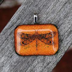 Dragonfly Dichroic Fused Glass Pendant Handmade Jewelry Orange Tangerine Nectarine