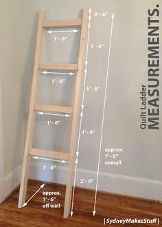 DIY Quilt Ladder Step by step instructions on how to make your own display for quilts and blankets SydneyMakesStuff Rustic Blanket Ladder, Rustic Blankets, Quilt Ladder, Wooden Ladder, Wooden Diy, Ladder Decor, Diy Ladder For Blankets, Ladder Display, Diy Furniture Projects