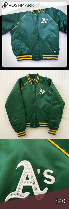 Oakland Athletics Bomber Prefect condition Oakland A's Bomber jacket for sale. Super comfortable and a little bling for the Ultimate A's fan. No smells, rips, or stains and all buttons and stones in tack. Great rare piece for a fan to have and just in time for opening day! Brand is Cooperstown purchased from Macy's) Macy's Jackets & Coats Puffers