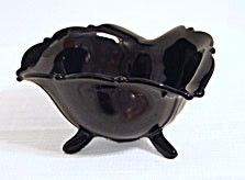 Depression Glass - L E Smith - Mt. Pleasant - Black Amethyst - Footed Mayonnaise Bowl