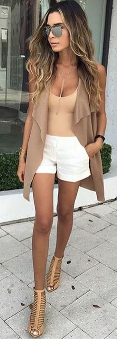 Shades of Camel + Pop iof White closet ideas fashion outfit style apparel Short Outfits, Sexy Outfits, Stylish Outfits, Cute Outfits, Fashion Outfits, Womens Fashion, Fashion Trends, Spring Summer Fashion, Spring Outfits