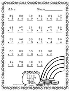 Double Digit Multiplication With Regrouping, Two Digit Multiplication Math Practice Worksheets, School Worksheets, Math Resources, Math Activities, Two Digit Multiplication, Multiplication Problems, Multiplication Worksheets, Math Sheets, Math Numbers