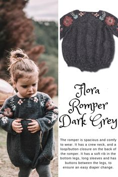 Beautiful in our Flora romper for kids in dark grey 🍒. This cute piece of children clothes is hand knitted in our signature merino wool! Knitting For Kids, Baby Knitting Patterns, Knitting Projects, Hand Knitting, Crochet Cross, Crochet Baby, Knit Crochet, Baby Girl Fashion, Kids Fashion