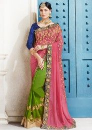 Party Wear Pink Georgette Embroidered Work Saree