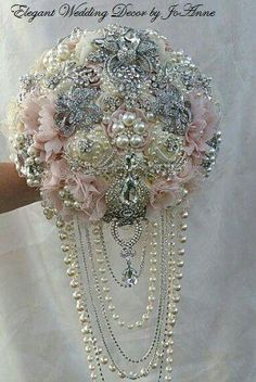 Brooch Bouquet With Cascading Of Pearls And Crystals Ivory Satin Roses For Wedding Pinterest Bouquets Keepsakes