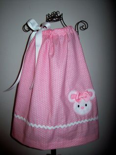 Easter Bunny Pillowcase Dress Pink White Dots Girls Infant Toddler Custom Boutique Spring Summer