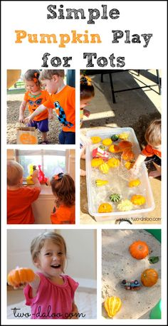 Simple Pumpkin Play for Tots  This is a fantastic resource for all kinds of pumpkin themed cognitive play activities for toddlers.  Color blending, puppets, water play, and many more activities will give lots of opportunities for exploration and problem solving. Cognitive Development: CD52. The older toddler creates and carries out a plan for solving simple problems.