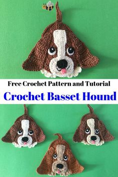 Crochet Basset Hound Dog Pattern Get this free crochet pattern of this cute little basset hound. There is a crochet pattern and video tutorial for the crochet dog available at Kerri's Crochet. Crochet Applique Patterns Free, Crochet Animal Patterns, Stuffed Animal Patterns, Crochet Patterns Amigurumi, Knitting Patterns, Felt Patterns, Crochet Animals, Crochet Gifts, Cute Crochet