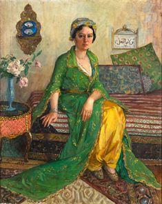 ibrahim çallı yeşil elbiseli kadın Bayan Vicdan Moralının portresi