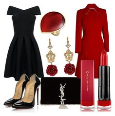 """red and black"" by ajla-levic ❤ liked on Polyvore featuring Christian Louboutin, Ippolita, Dolce&Gabbana, Yves Saint Laurent, Roland Mouret and Max Factor"