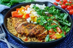 One Pan Greek Chicken + Rice for an Inspiring Clean Eating Dinner! | Clean Food Crush