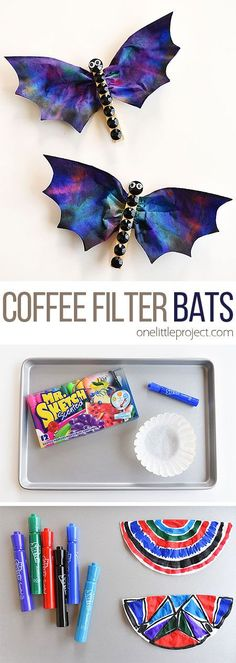 How To Produce Elementary School Much More Enjoyment These Coffee Filter Bats Are So Cool And They're Really Easy To Make Using Coffee Filters And Mr. Sketch Markers The Colors End Up Looking Dark, Spooky And Amazing This Is Such A Fun Halloween Craft And Fall Crafts For Toddlers, Toddler Crafts, Toddler Activities, Kids Crafts, Crafts To Make, Science Crafts For Kids, Halloween Tags, Halloween Crafts For Kids, Vintage Halloween
