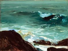 """Wave, Monhegan,"" George Wesley Bellows, 1913, Oil on panel, 15 x 19 1/2"", Collection of Alice S. Dayton."