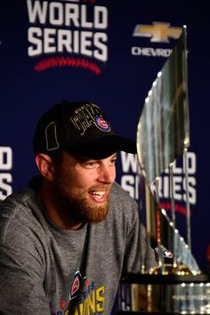 World Series MVP Ben Zobrist of the Chicago Cubs speaks with the media during a press conference after defeating the Cleveland Indians 87 in Game. Cleveland Indians Baseball, Cleveland Ohio, Chicago Cubs History, Ben Zobrist, Cub Sport, First World Series, Cubs Players, Mlb Postseason, Cubs Win