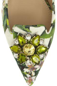 Dolce & Gabbana|Embellished floral-brocade point-toe flats|NET-A-PORTER.COM