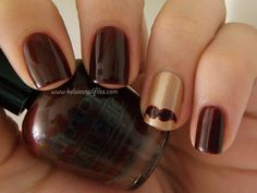Mustache Gold and Maroon nail. Love!