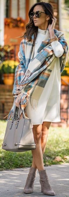 Plaid Blanket Scarf + White Sweater Dress                                                                             Source