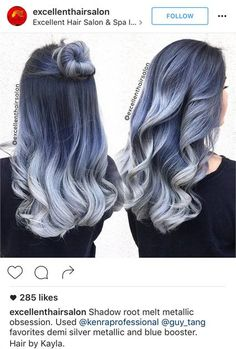 Choosing the Right Shade of Denim: How to Get Bleached Blue, Lived-In Gray or Dark Denim Color - Hair Color - Modern Salon Pelo Color Gris, Color Azul, Colour, Pelo Multicolor, Denim Hair, Balayage Ombré, Denim Look, Cool Hair Color, Hair Colors