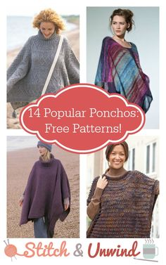 14 Popular Knit and Crochet Ponchos: Free Patterns! - Stitch and Unwind 14 Popular and Ponchos: Free Patterns! All Free Crochet, Knit Or Crochet, Crochet Scarves, Crochet Clothes, Free Knitting, Crochet Vests, Crochet Edgings, Crochet Shirt, Crochet Sweaters