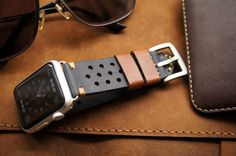 Handmade Vintage Leather Strap Rally Racing incl. Lugs Adapter for Apple Watch (or Apple Watch Sport) 42mm or 38mm