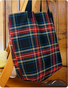 Cabas - Plus Tartan, Plaid, Denim Tote Bags, Handbag Patterns, Market Bag, Diaper Bag, Shopping Bag, Fashion Accessories, Creations