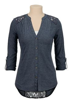 high-low lace back button down top (original price, $29) available at #Maurices
