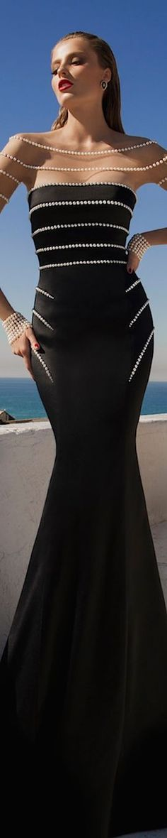 black maxi dress /roressclothes/ closet ideas women fashion outfit clothing style Galia Lahav Haute Couture