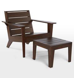 Arcadia Adirondack Chair and Ottoman Onyx