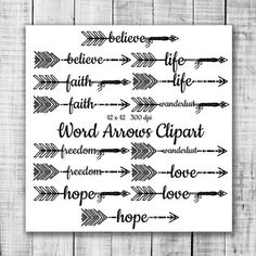 Hand Drawn Word Arrows Tribal Aztec Digital Clip by ItGirlDigital