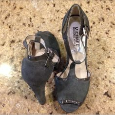💯% authentic Michael Kors shoes size 6 Dark grey suede Michael Kors shoes size 6. Gently used. 5inch heel height. Without box. Michael Kors Shoes Platforms