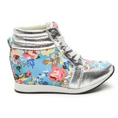 Petal Pusher Floral Sneaker Wedges BLUE (49 CAD) ❤ liked on Polyvore featuring shoes, blue, blue high top shoes, blue high tops, wedge heel shoes, pointed shoes and lace up wedge shoes