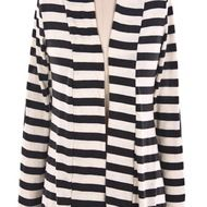Front view of black and cream striped cardigan with elbow patches
