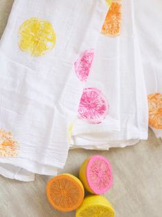 Make a citrus-stamped tea towel for spring with colorful paint and lemons.