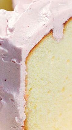 Lemon Chiffon Cake with Raspberry Cream Frosting ✿⊱╮