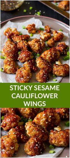These Sticky Sesame Cauliflower Wings are the best veggie wings I've ever had! These Sticky Sesame Cauliflower Wings are the best veggie wings I've ever had! Loaded with a maple sesame flavor and spice, they are the perfect game day snack for vegans! Veggie Dishes, Veggie Recipes, Whole Food Recipes, Cooking Recipes, Vegetable Snacks, Food Dishes, Soup Recipes, Recipies, Gluten Free Vegan