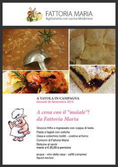 """A cena con il """"maiale"""" ☺! Vi aspettiamo giovedì 26 Novembre. Info 349 4740025 #fattoriamaria #maiale #cena #atavolaincampagna #cucinaitaliana"""