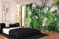 Jungle By motif non-woven paper wallpaper, panoramic 6 strips Collection Tropical Wallpaper, Wallpaper Jungle, Paper Wallpaper, Bedroom Wall, Bedroom Decor, Office Space Decor, Wall Mural Decals, Tropical Bedrooms, Fabric Armchairs