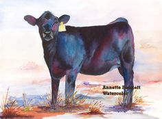 black angus calf, purple, turquoise, western, abstract, painting, Annette Bennett, etsy, cattle, watercolor, cattle, art, watercolor print by AnnetteBennett on Etsy