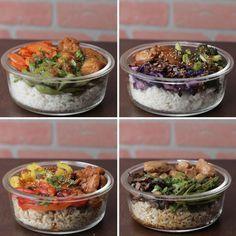 Chicken Bowl Meal Prep 4 Ways