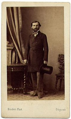 Giuseppe Verdi (likely born 10 October, 1813; died 27 January, 1901), pictured above in a photograph made in Paris around 1855 by Adolphe Eugène Disderi (1819-1890)
